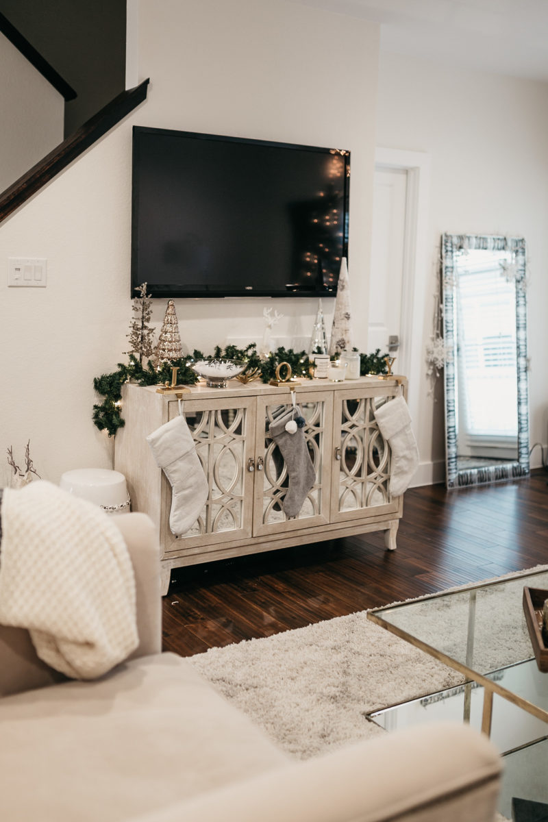 china cabinet and television in a livingroom