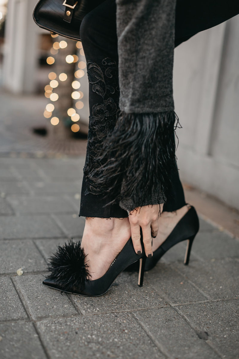 feather pumps, feather sweater, feathers, new years eve inspo