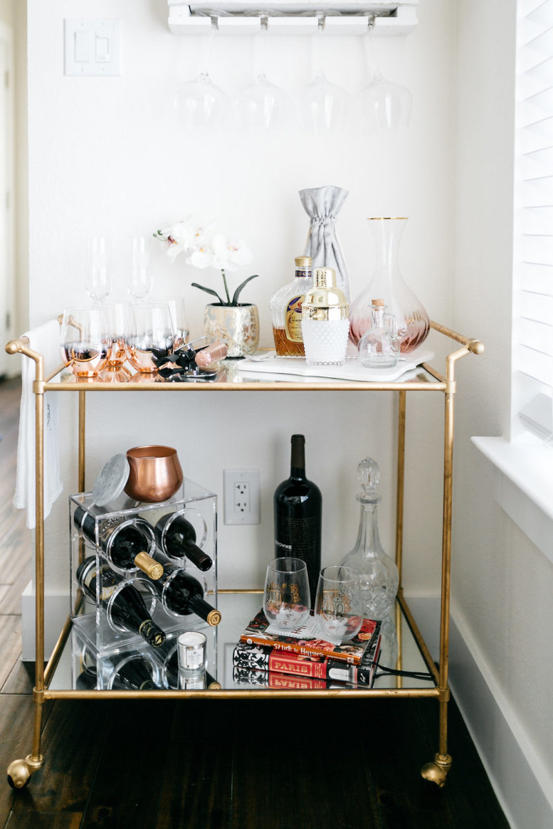 style blogger, wine lover, bar cart, valentine's day, festive decor