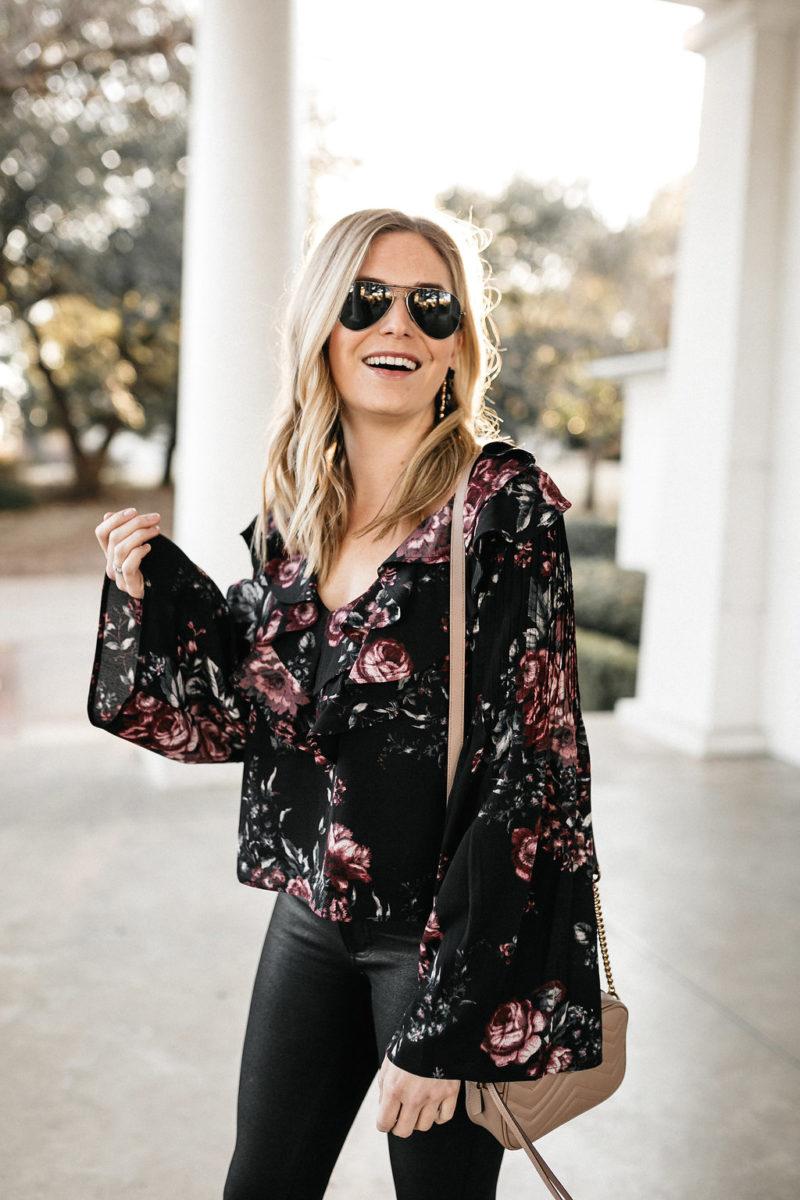 floral top, winter fashion, winter trends, aviators