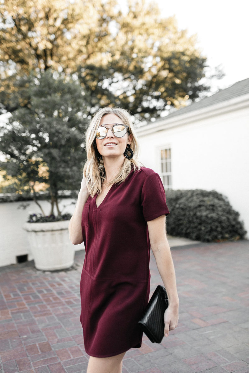 bauble bar, quay sunglasses, lush, simple outfit, classic red