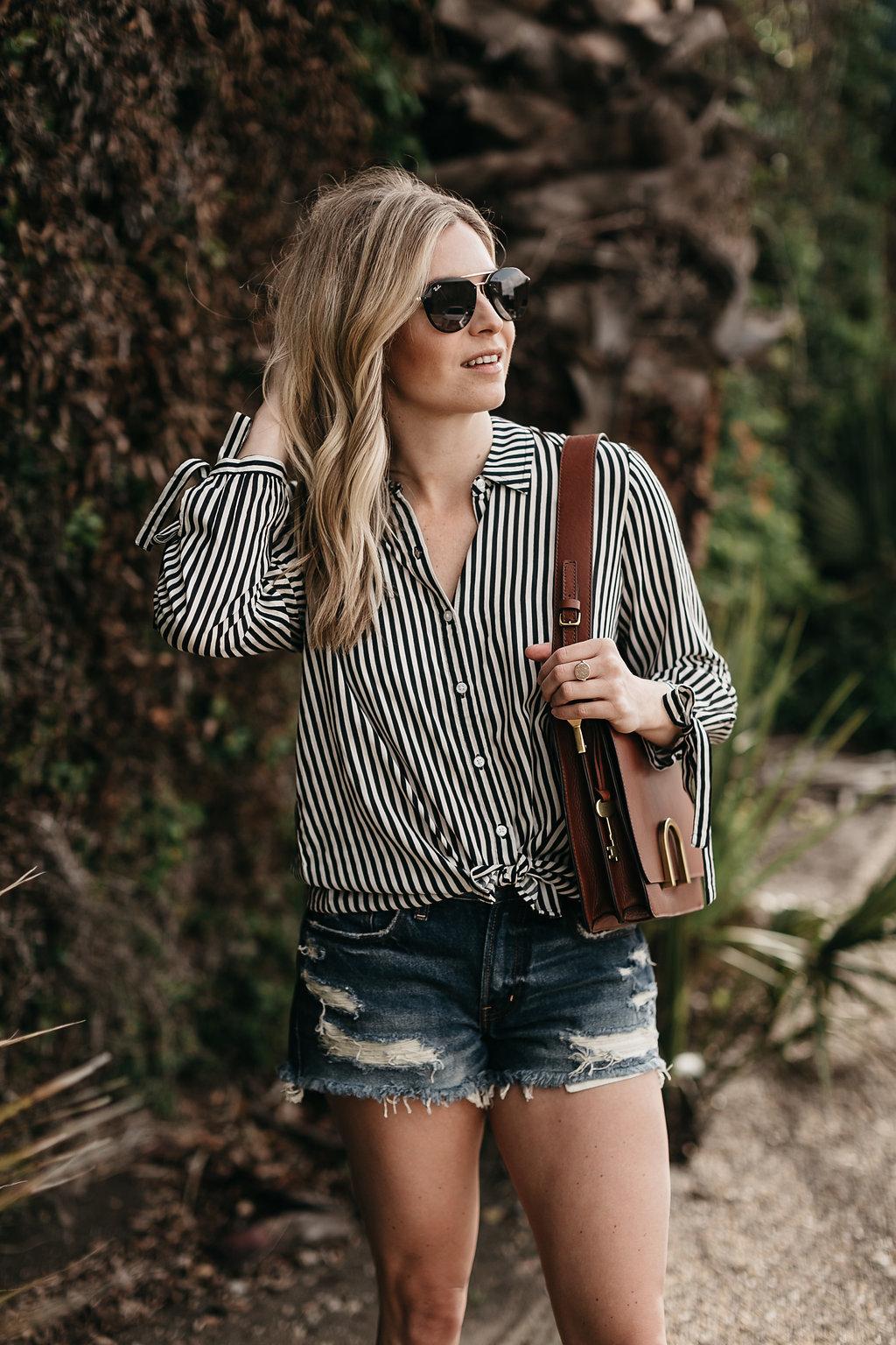 Striped spring top and distressed denim cutoffs