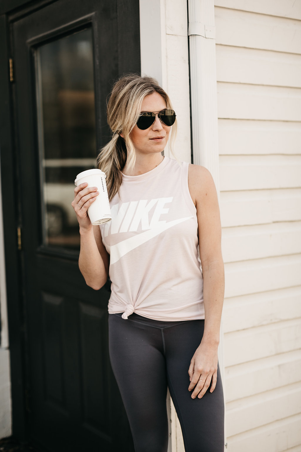 Nike muscle tank paired with Zella color block leggings