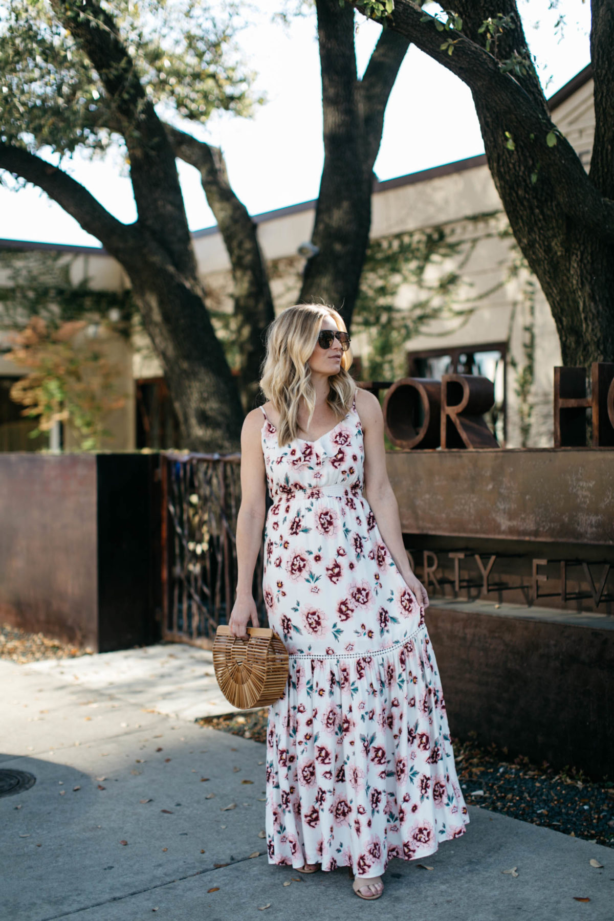 Spring floral dress outfit