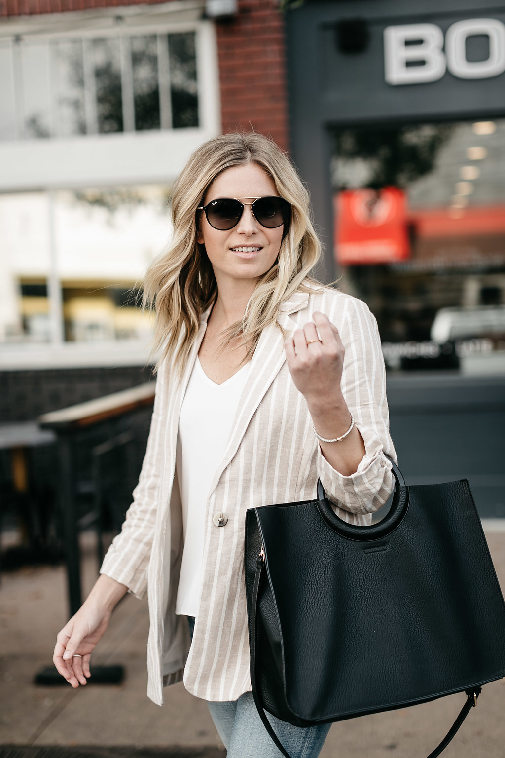trendy blazer paired with white tee