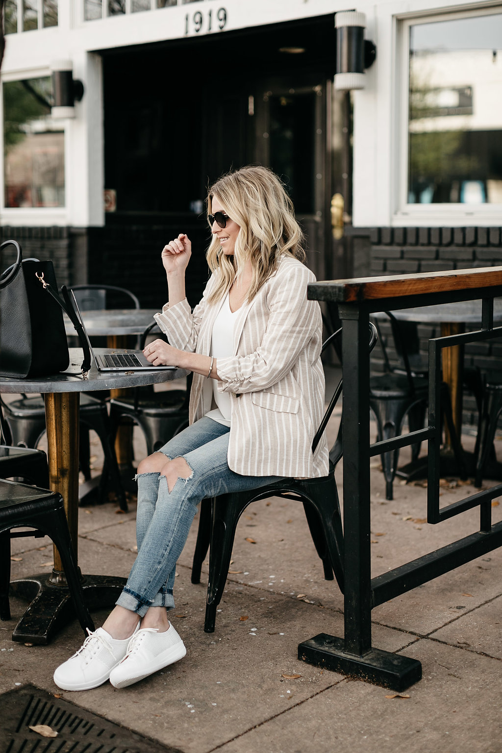 business casual work day on Dallas patio