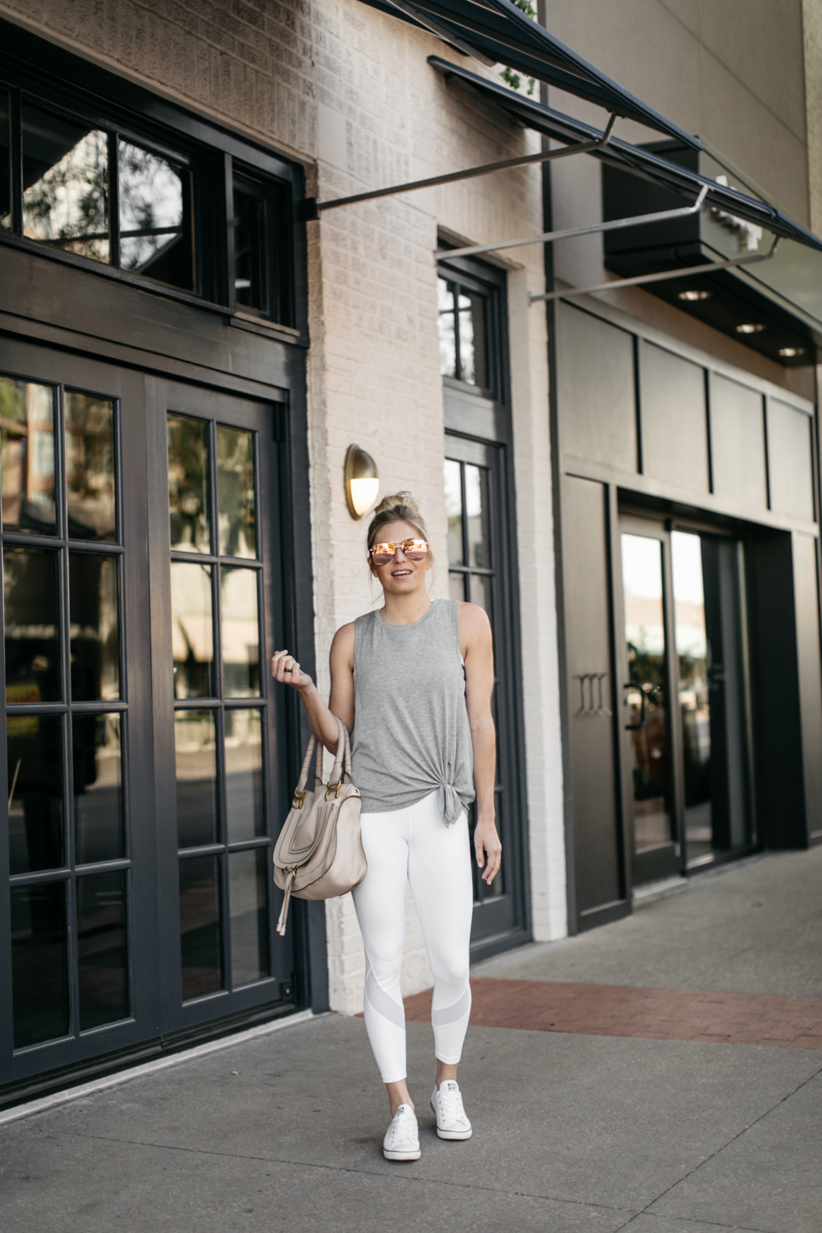 petite workout outfit on Dallas fashion blogger