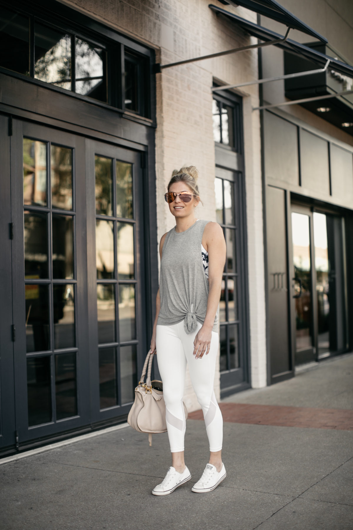 Athleta Spring 2018 high neck sports bra and white leggings