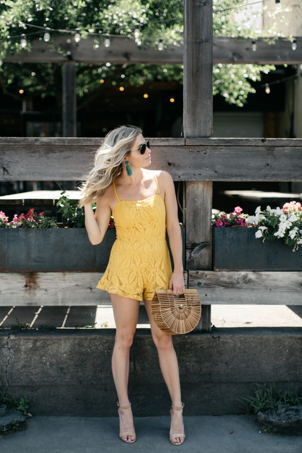 yellow lace romper, best summer rompers, cult gaia arc bag, turquoise beaded earrings
