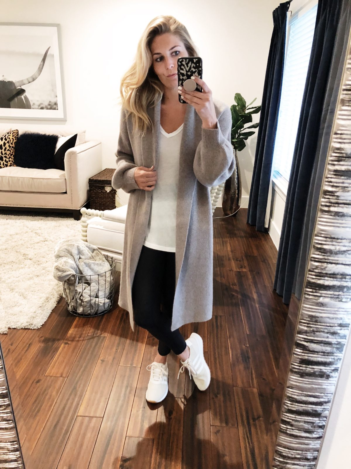 Adidas shoes // Size 7 1/2  Halogen Long Cashmere Cardigan // Size S (sooo soft)  BP Classic White T-Shirt // Size S (always stock up on these every year)  ALO Leggings // Size S