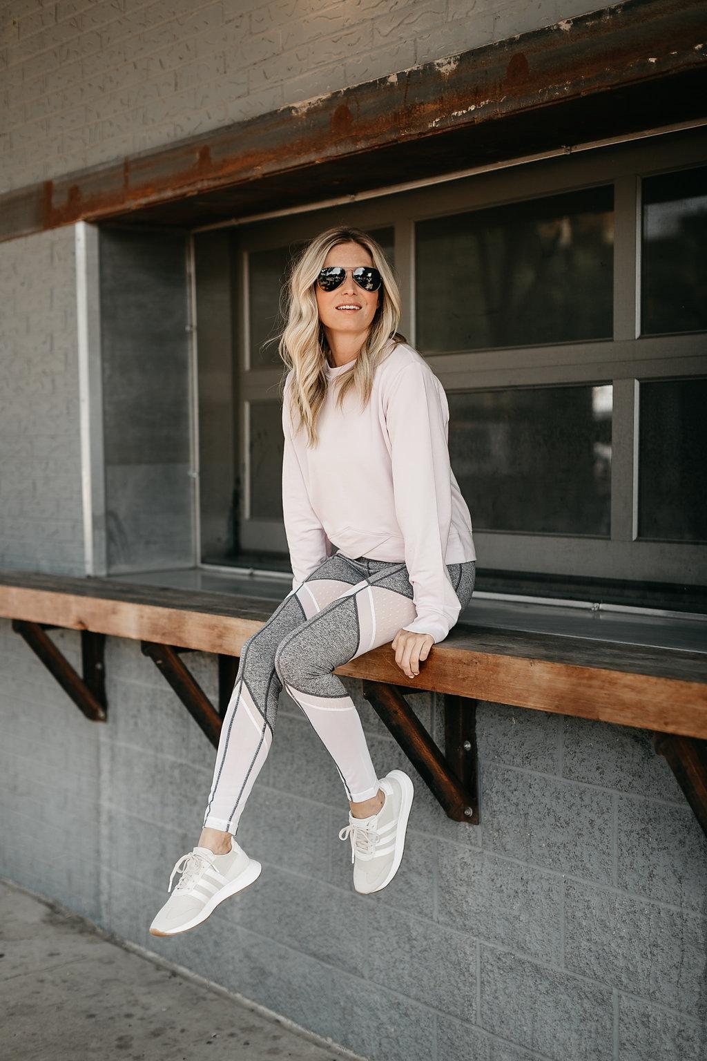 woman sitting and wearing Sun Salutation High Waist Leggings ZELLA - Workout Outfits
