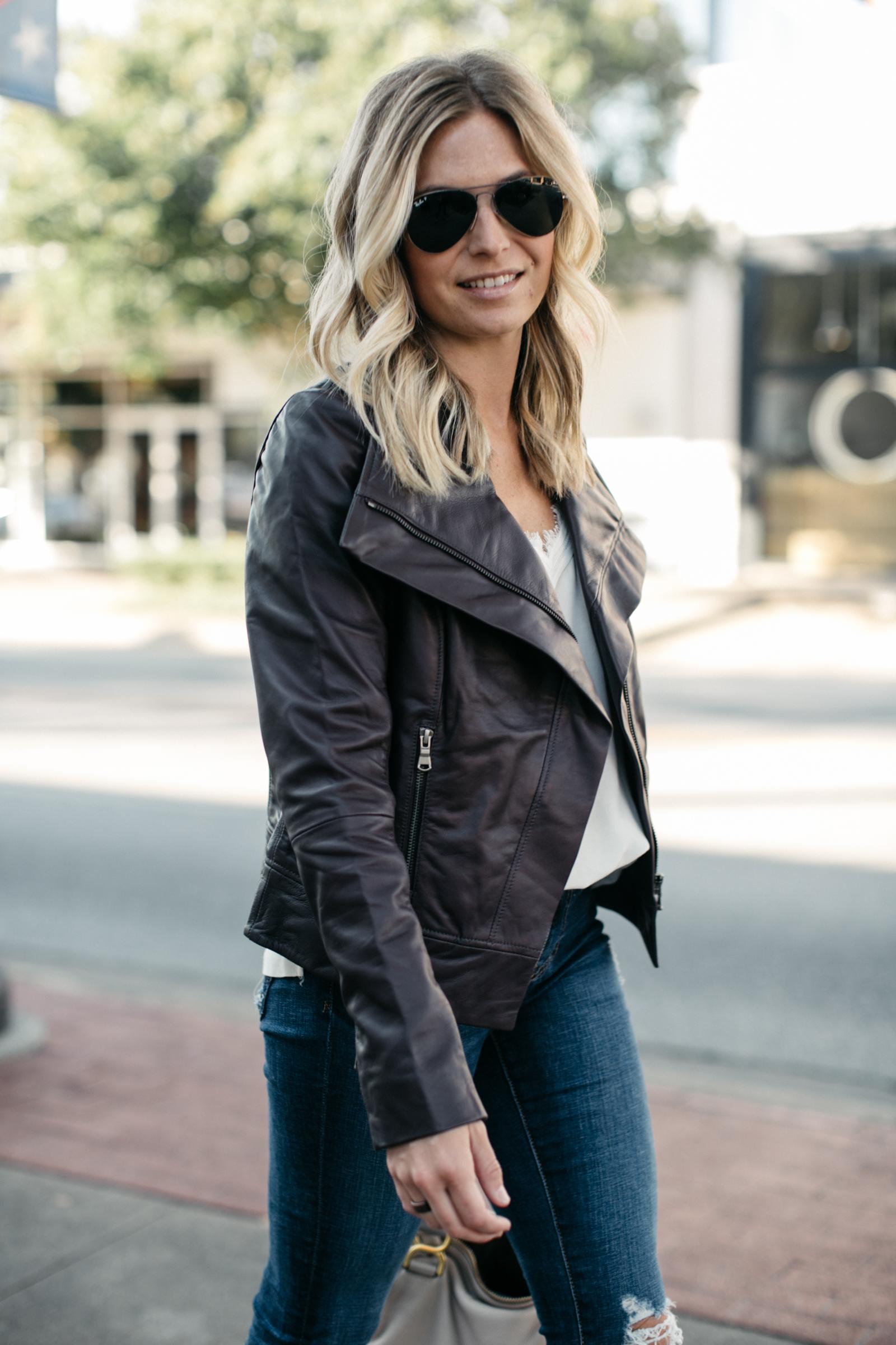 Drape Front Leather Jacket TROUVÉ