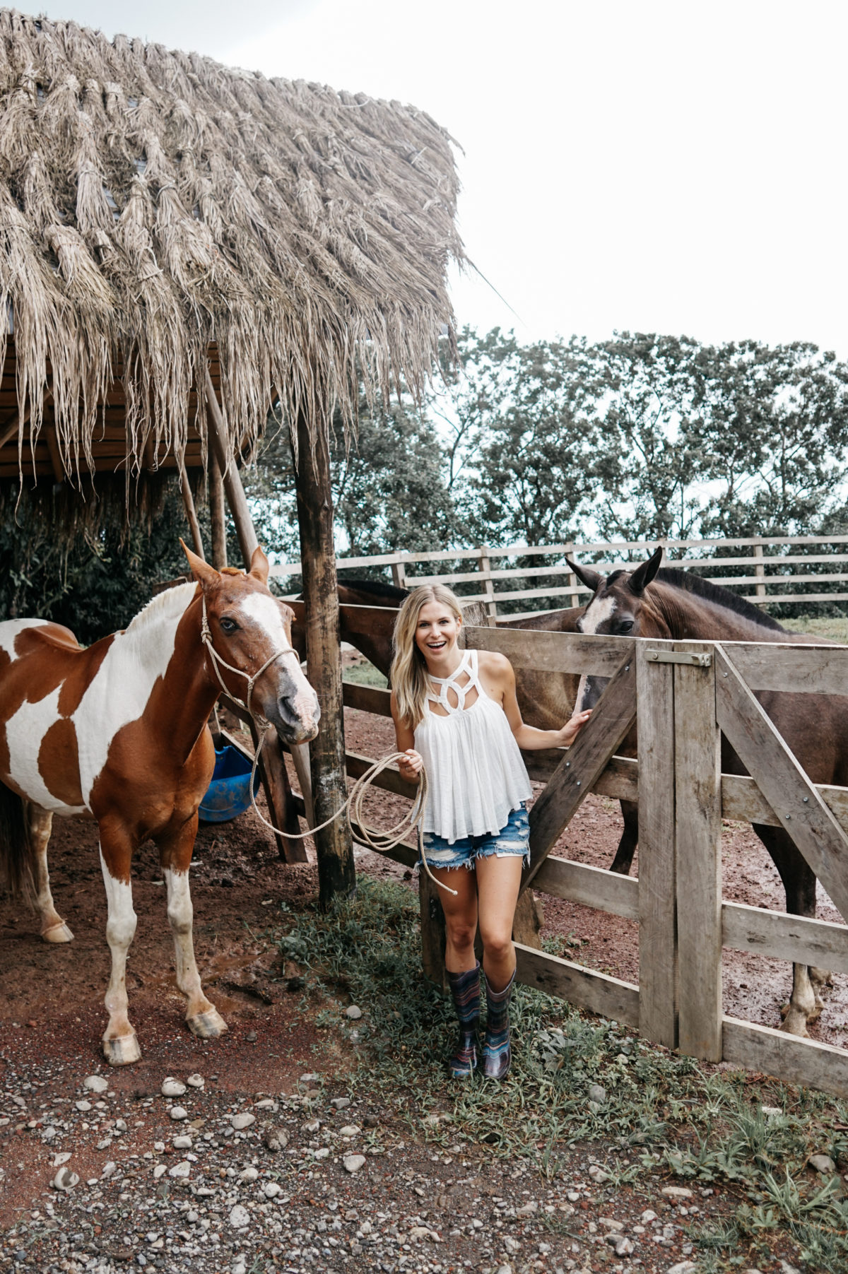 free people, horseback riding, white top, summer, jean shorts, rain boots