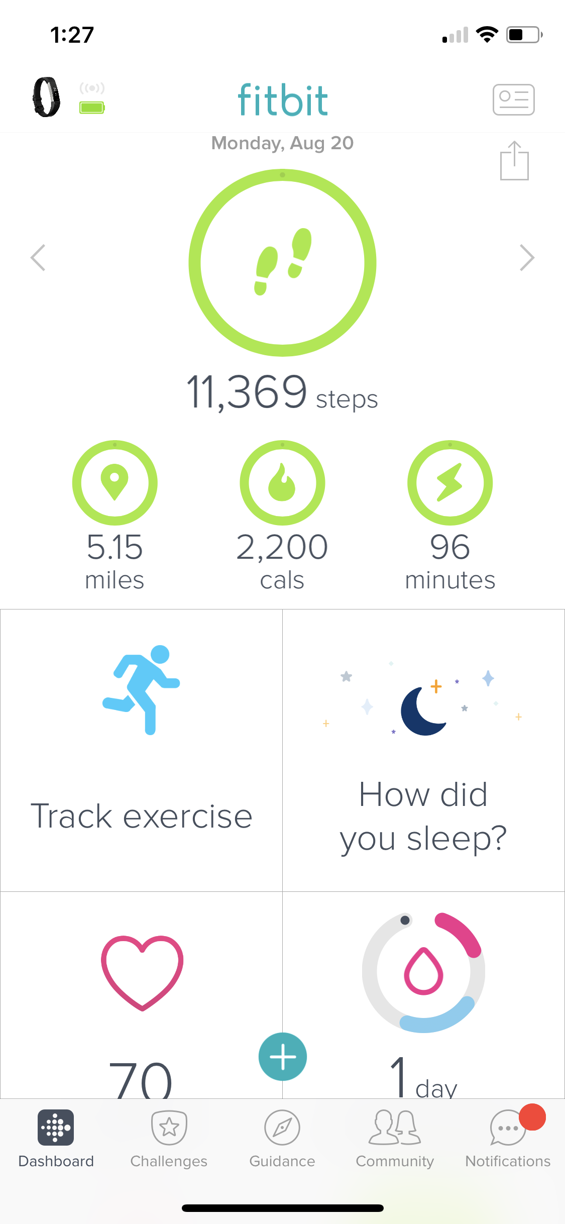 fitbit user interface