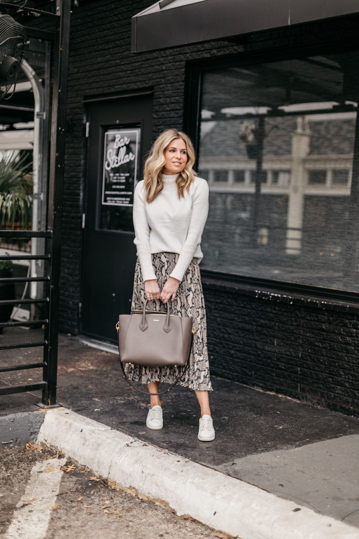 Leopard Skirt // Cream Mock Neck Sweater // White Sneakers