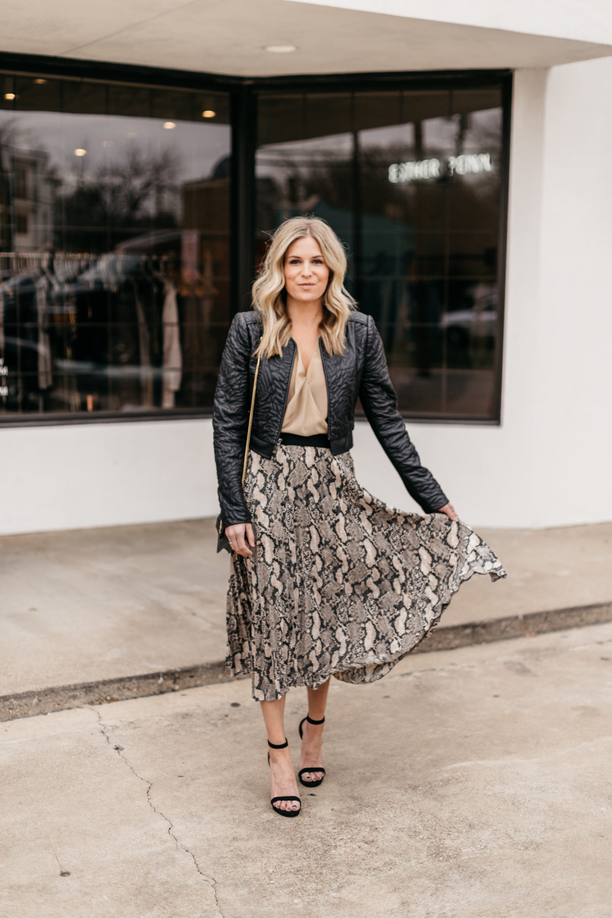 Leopard Skirt // Twist Top // Leather Jacket // Black Pumps