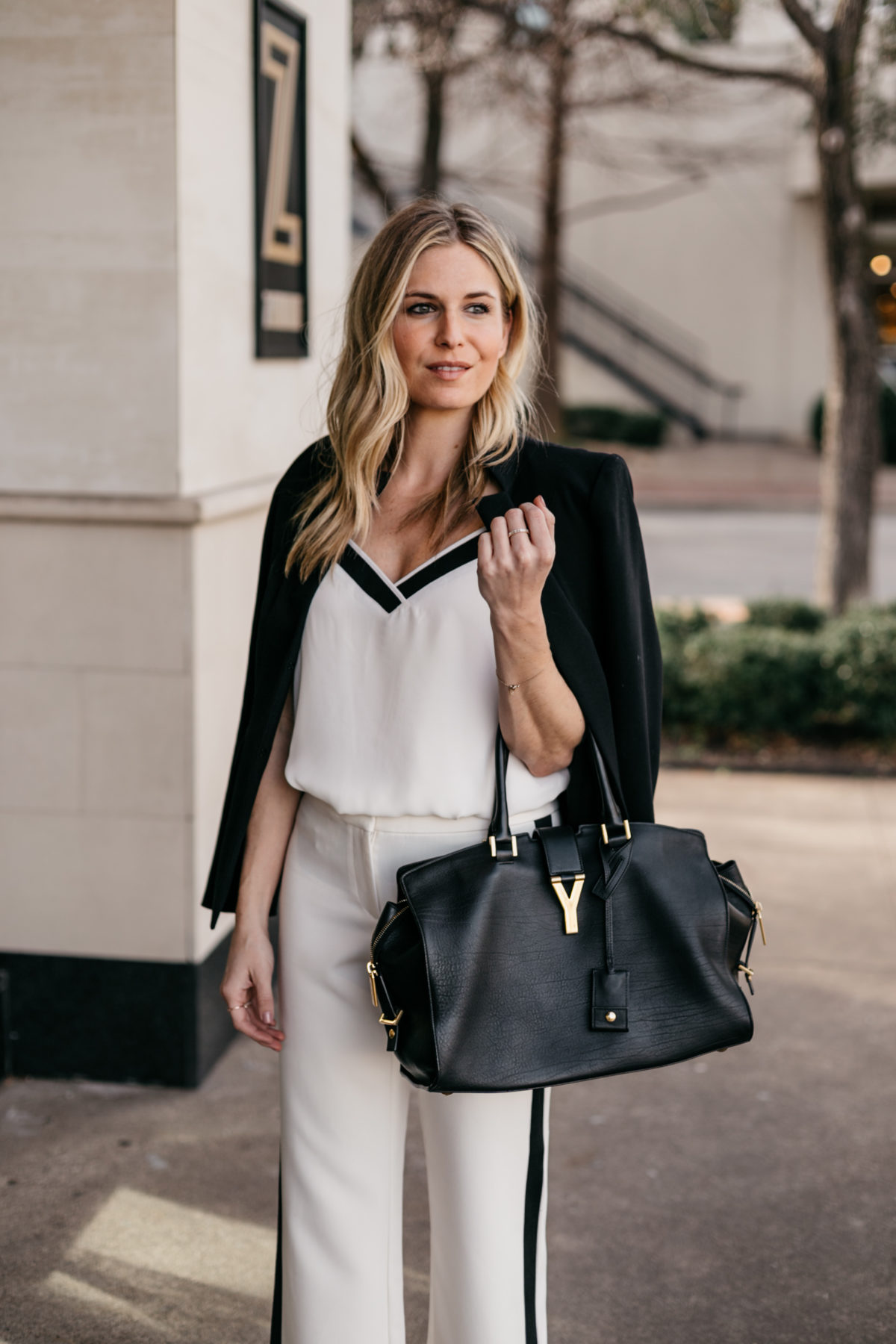 OUTFIT 4  White Work Pants // White with Black Sleeveless Camisole // Black Fitted Blazer // Black Work Tote // Black Suede Sandals
