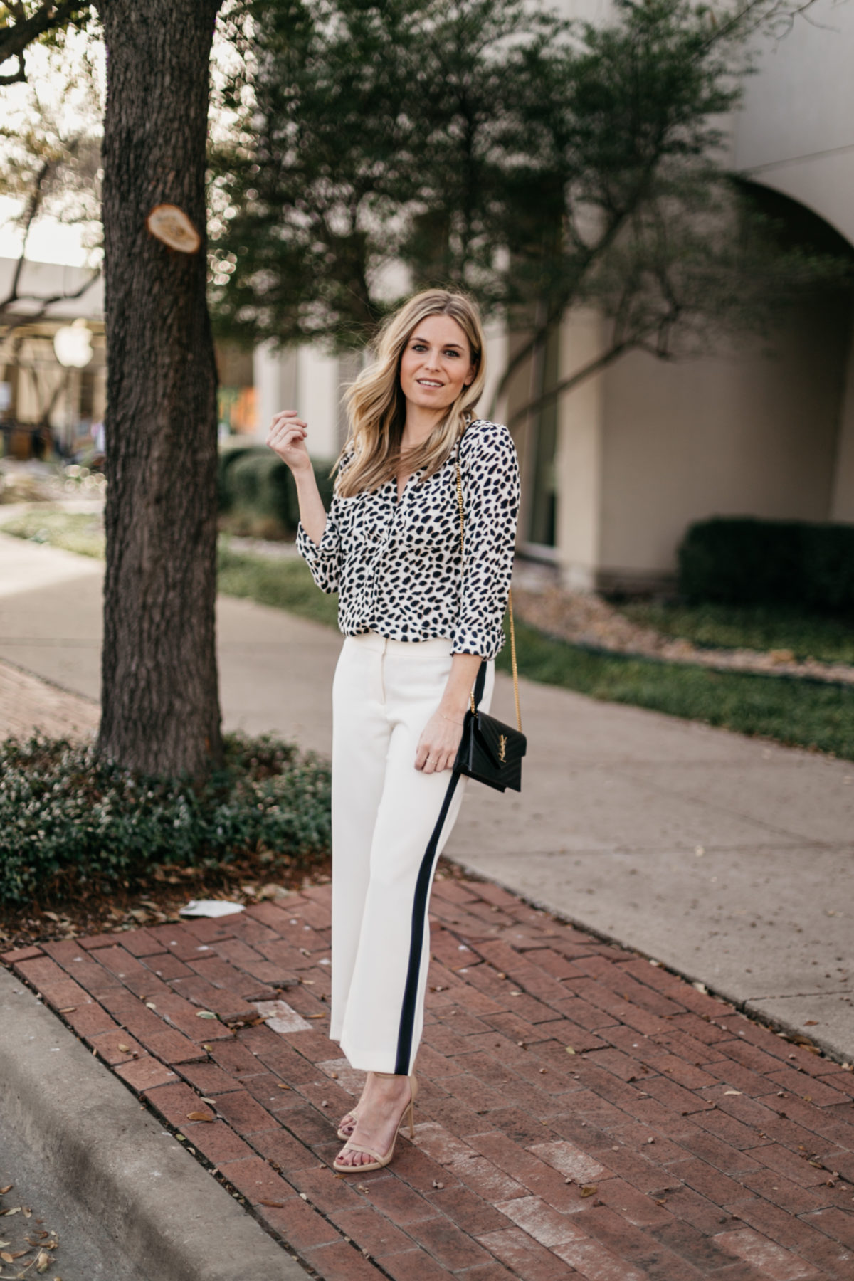 White Wide Leg Crop Pants // Leopard Long Sleeve Blouse // Black with Gold Wallet on a Chain // Nude Patent Leather Heels