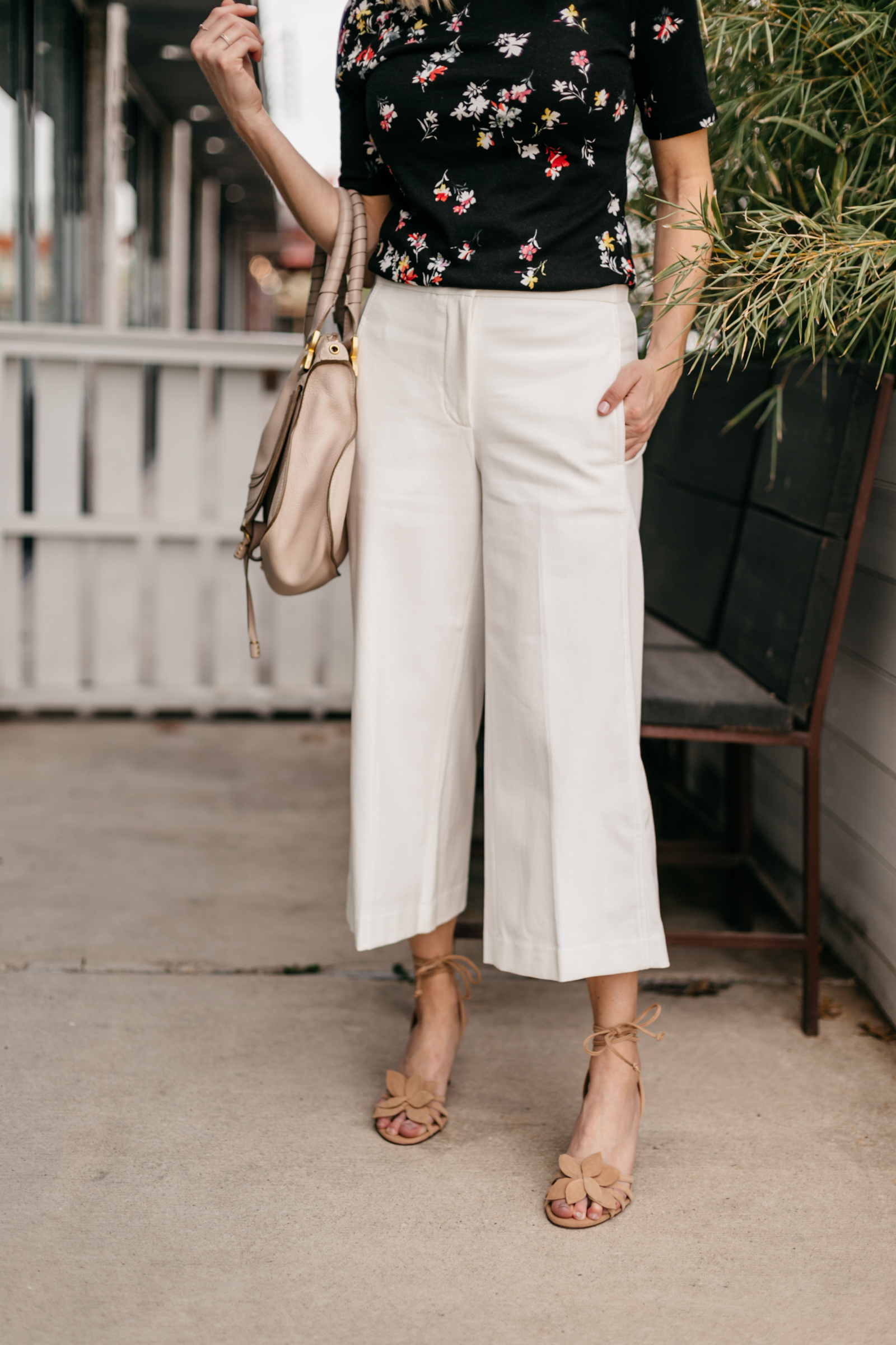 One Small Blonde is featuring a Floral Mock Neck Top and The Wide Leg Marina Pant from Ann Taylor