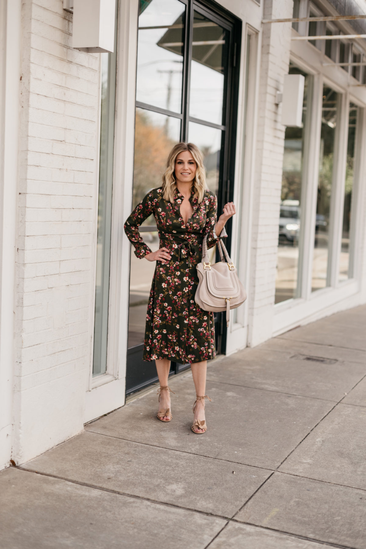 Green Floral Tie Waist Dress
