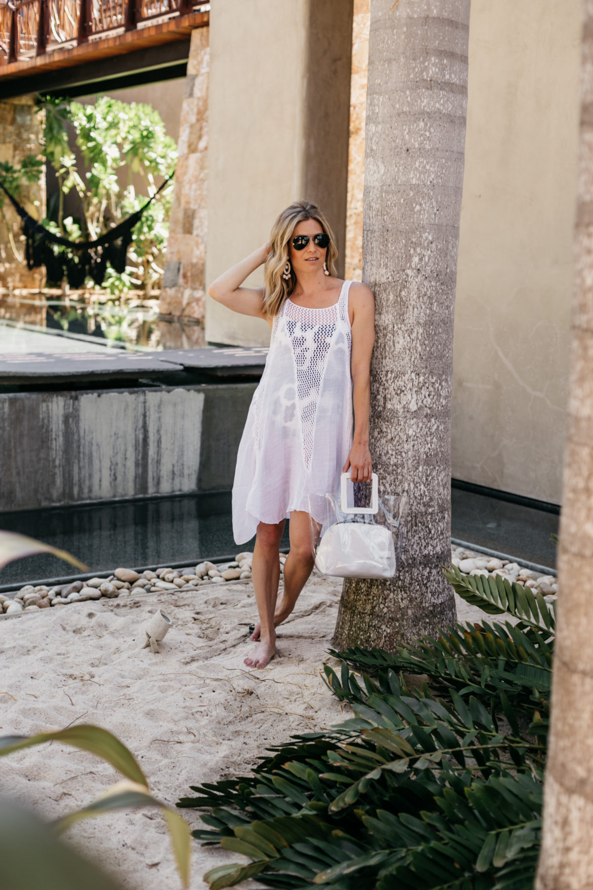 Brooke is featuring a White Beach Cover-Up // Leopard One Piece Swimsuit // Beach Bag