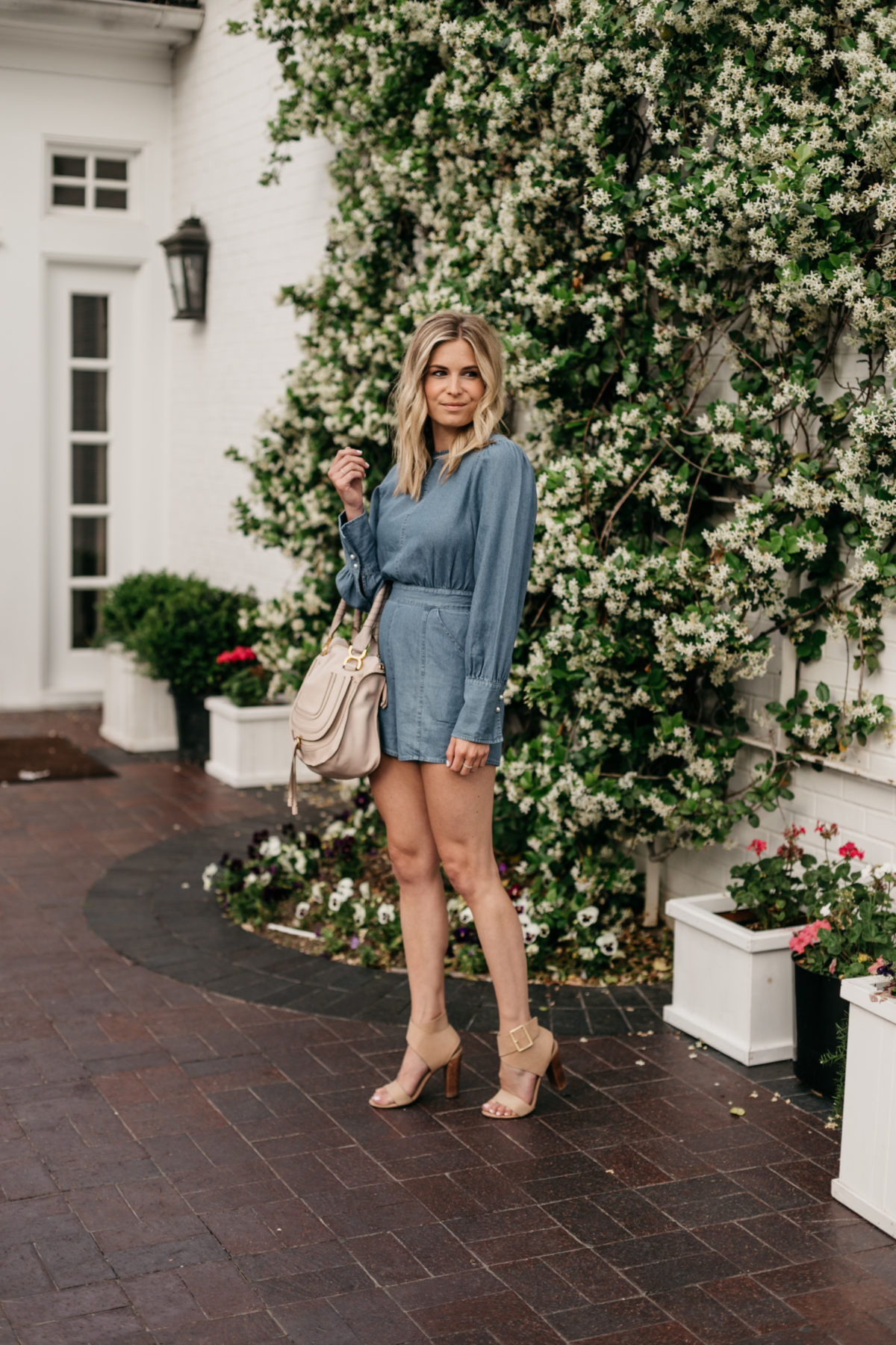 Spring Rompers on the blog - Brooke's outfit details: Denim Romper // Nude Block Heels // Chloe Marcie Handbag