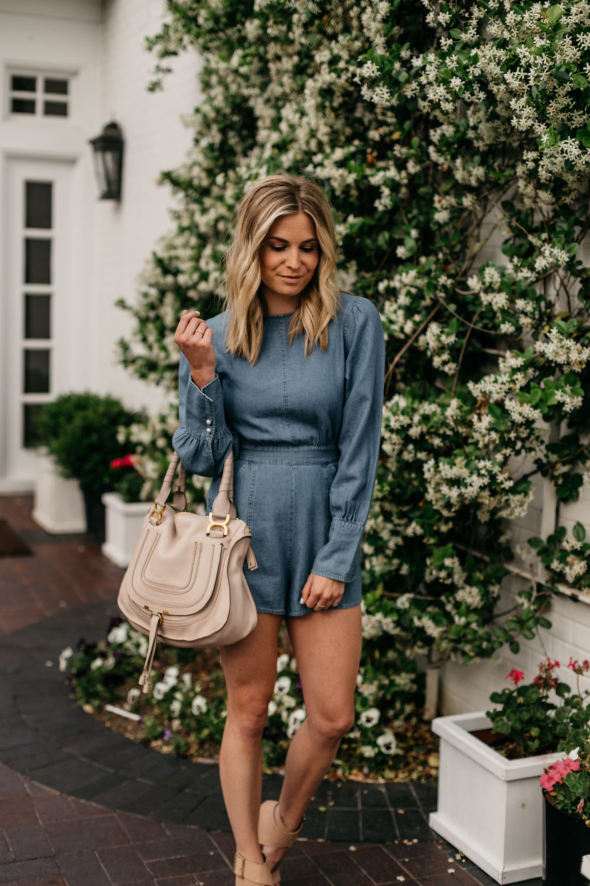 Spring Rompers on the blog - Brooke's outfit details: Denim Romper // Chloe Marcie Handbag