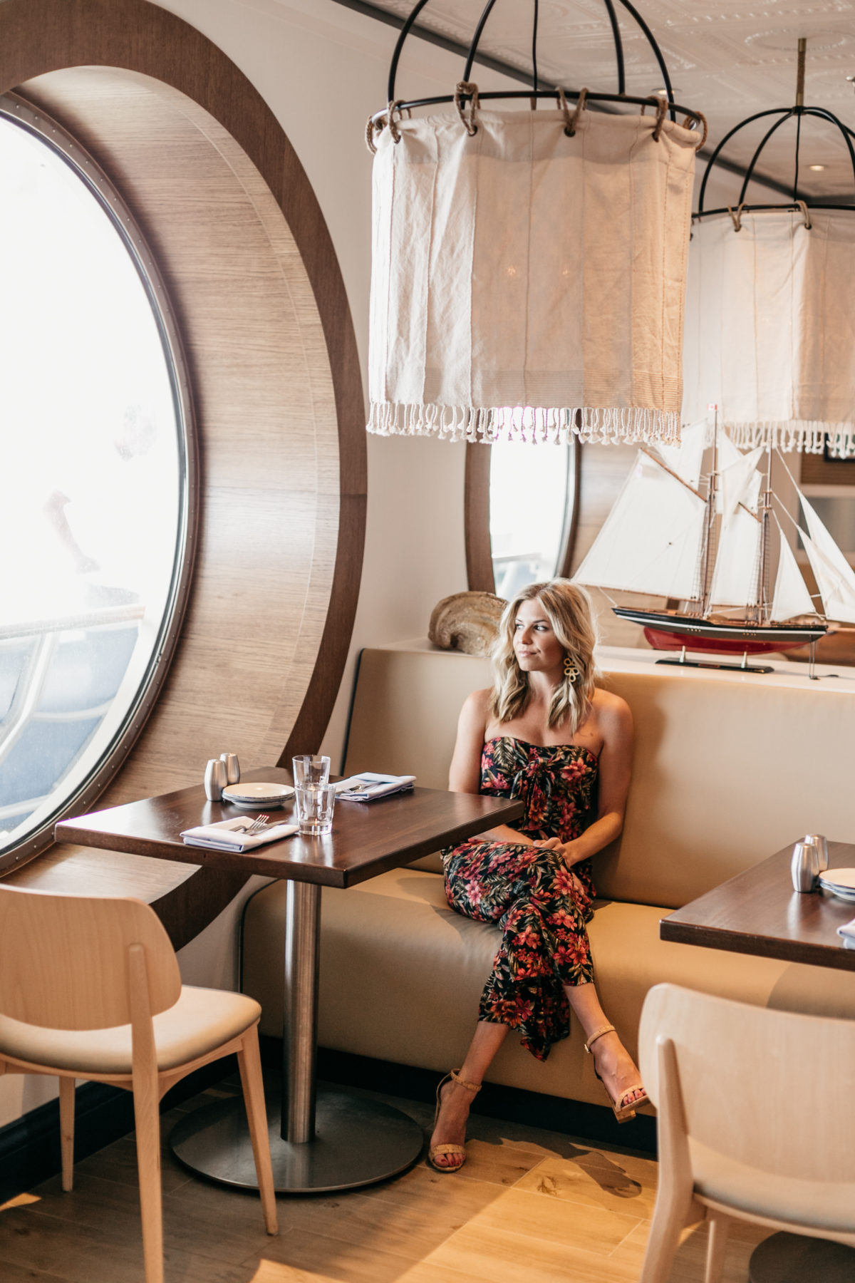 ROYAL CARIBBEAN CRUISE & A Cruise Outfit: Floral Printed Jumpsuit, Cork Heels, Acrylic Square Bag