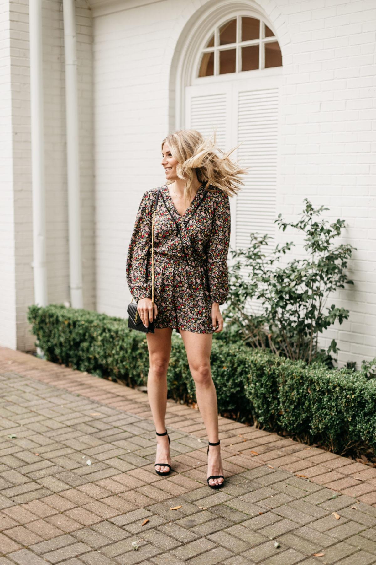 Spring Rompers - Brooke's outfit details: Floral Romper // Black Heels // YSL Crossbody