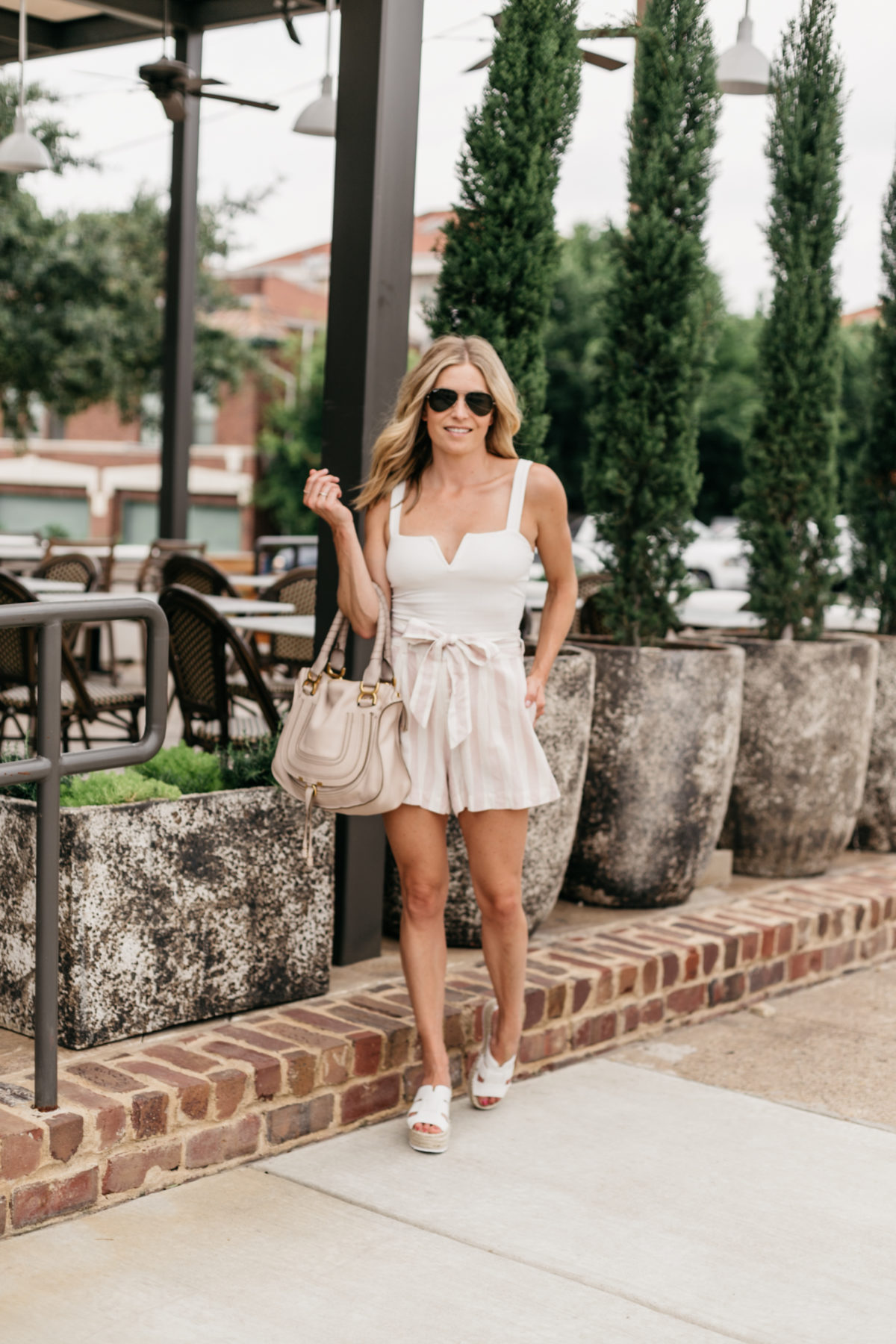 Chloe Tote and white espadrille wedges featured