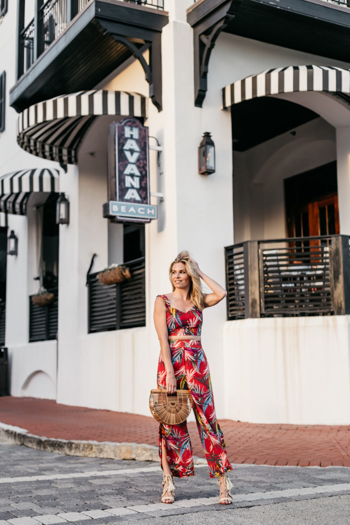 Brooke Burnett Outfit Details: Tropical Print Pants // Tropical Print Top // Strappy Sandals // Wooden Bag