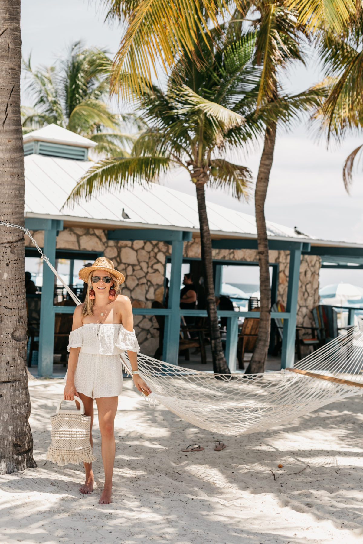 Beach outit: White Off Shoulder Romper // Straw Hat // Macrame Beach Bag // Wooden & Coral Earrings // Gold Crescent / Coin Necklace// Aviator Sunnies
