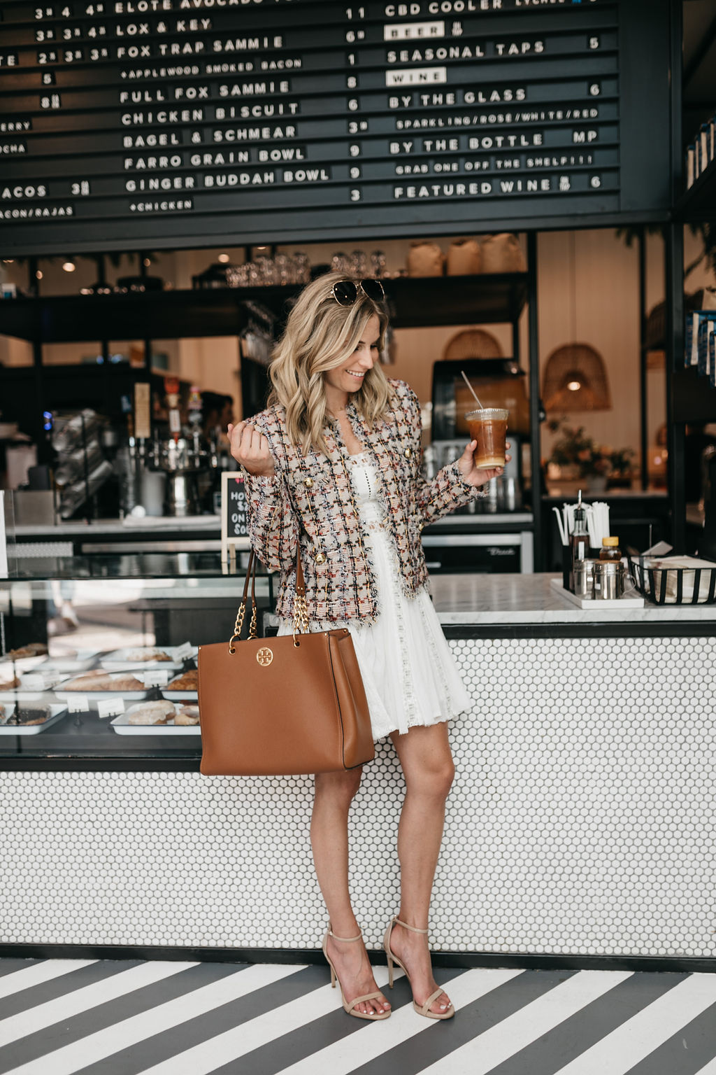 tweed jacket and white dress and tory burch tote