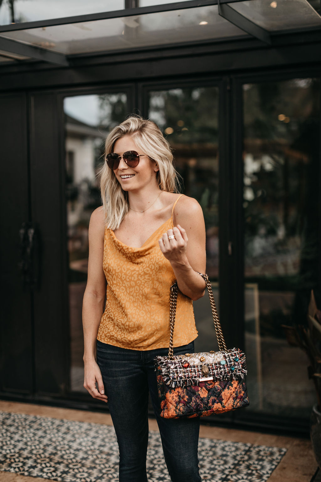 yellow animal print top