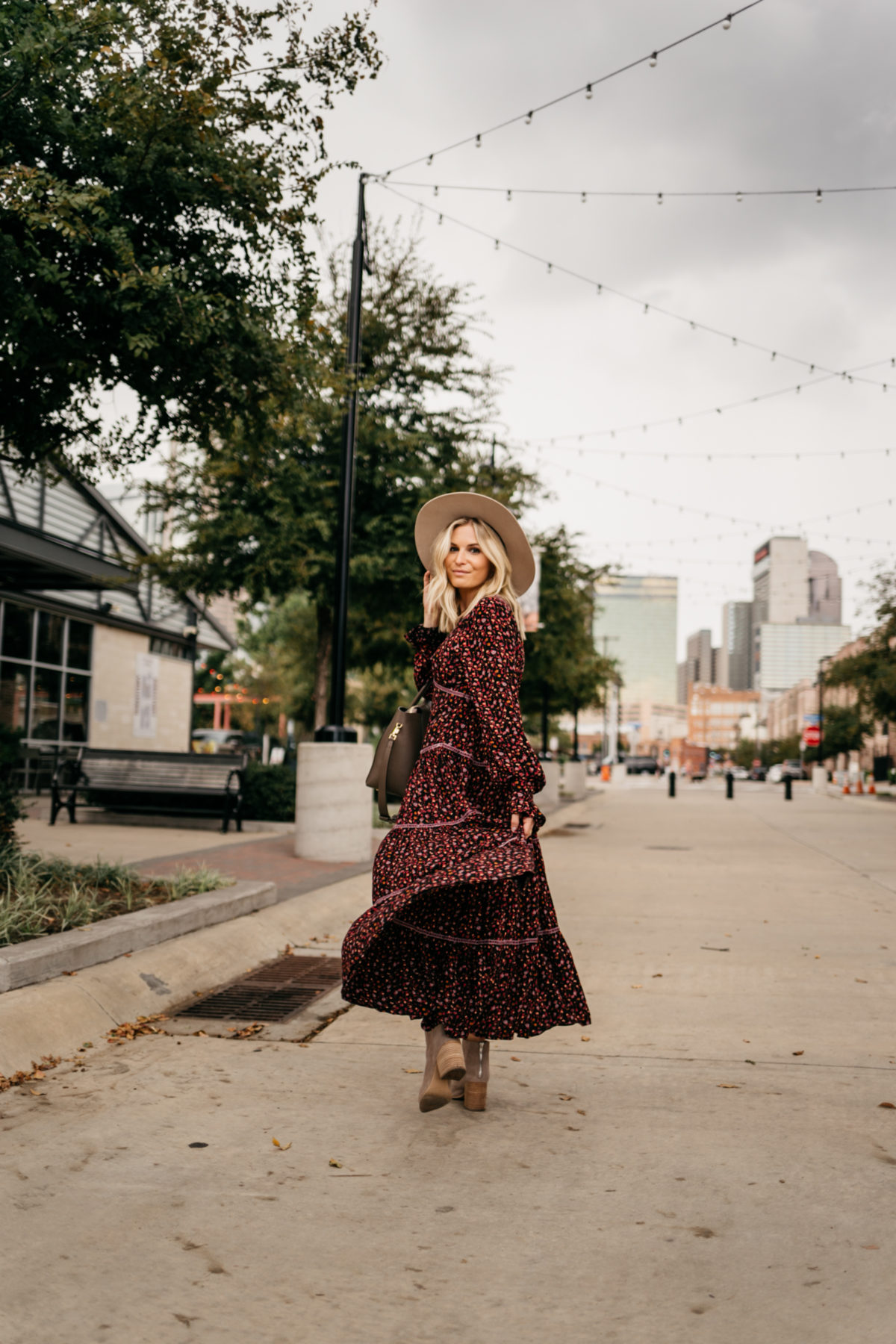 moody floral dress for fall fashion trends