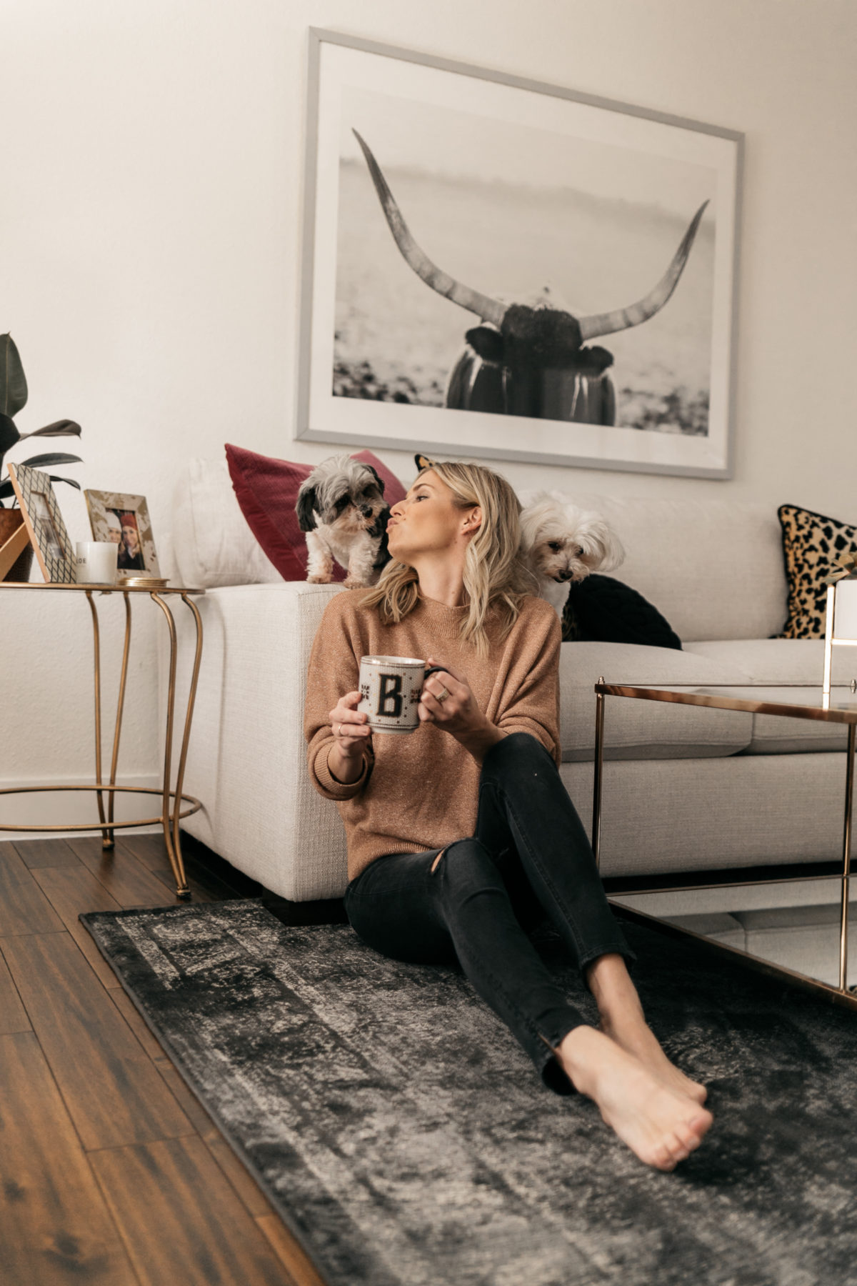 cozy at home. camel sweater