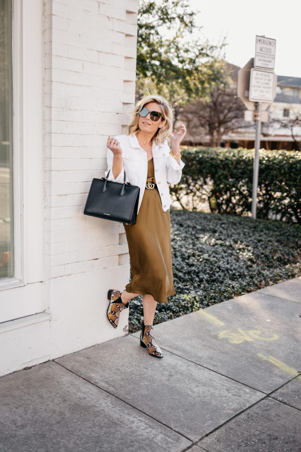 casual look satin slip dress
