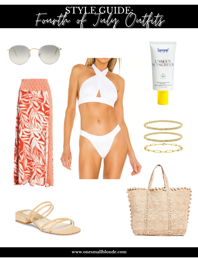 collage with woman wearing two piece swimsuit and accessories