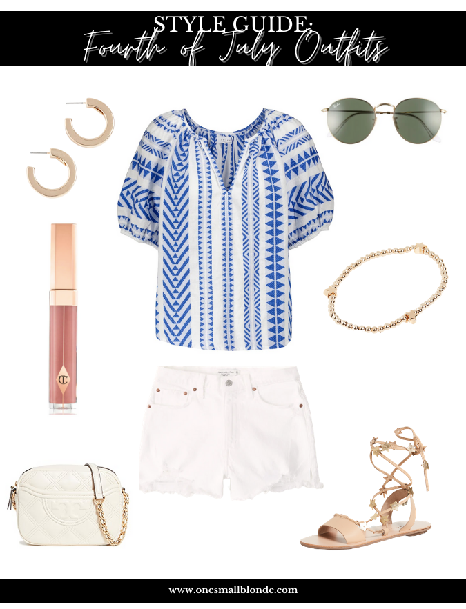 top and shorts with accessories for fourth of july outfits