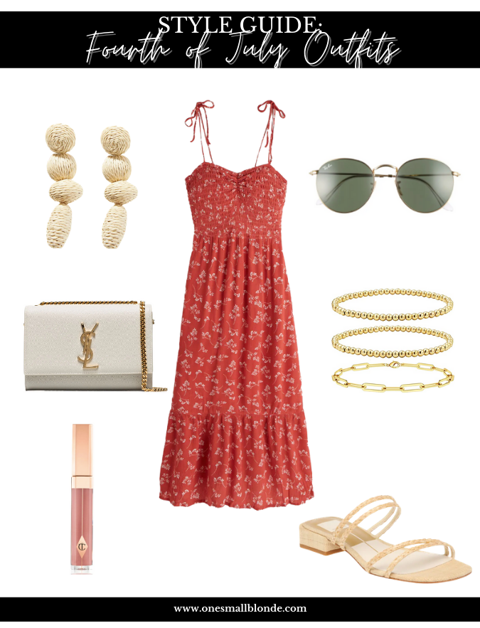 4th of july outfits style guide with accessories and red dress