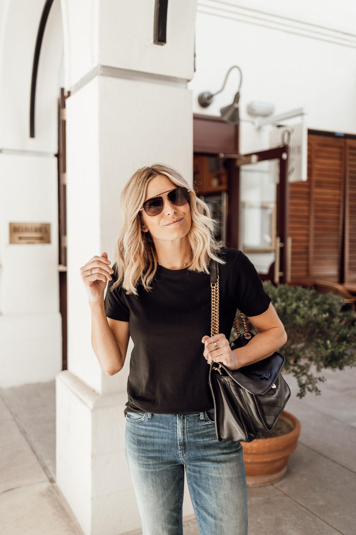plain black shirt outfit