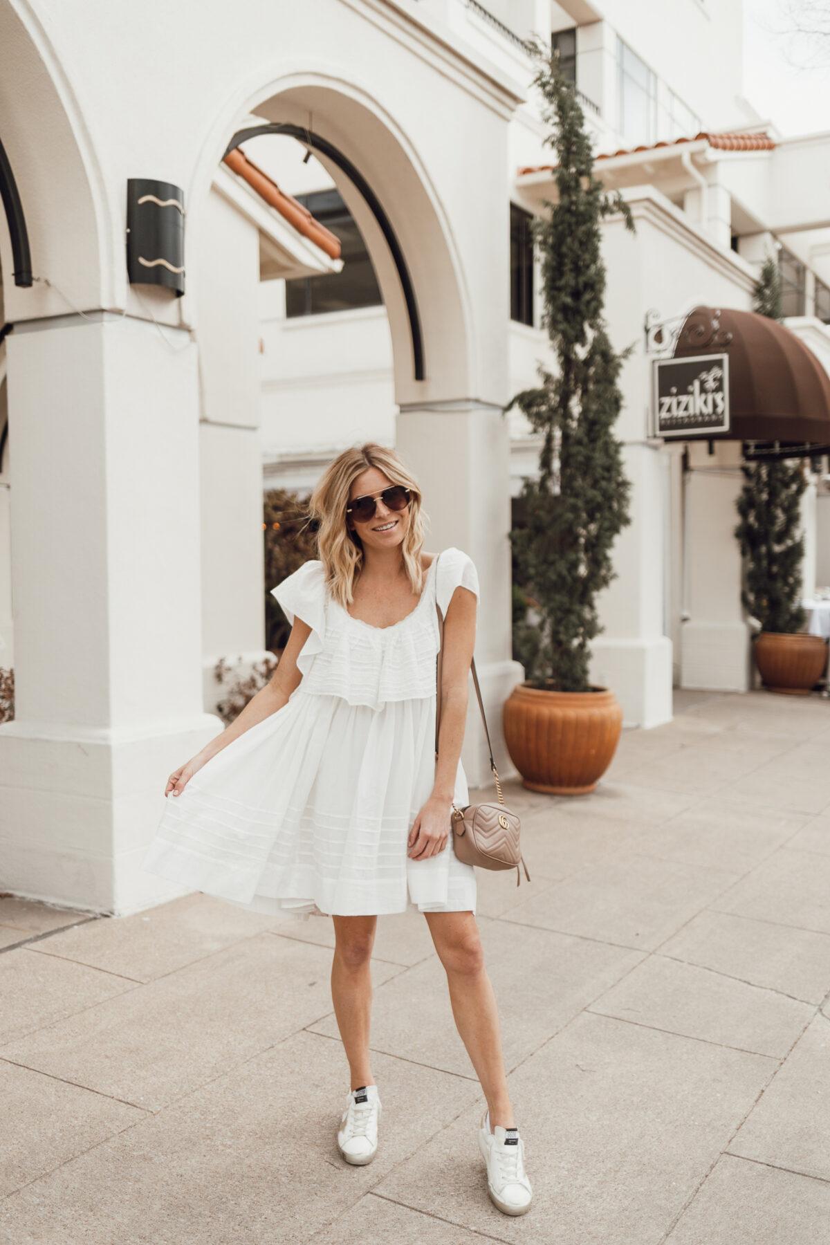 ruffle white dress