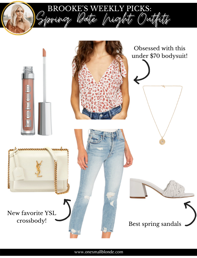 collage of womens clothes and accessories for date night outfits
