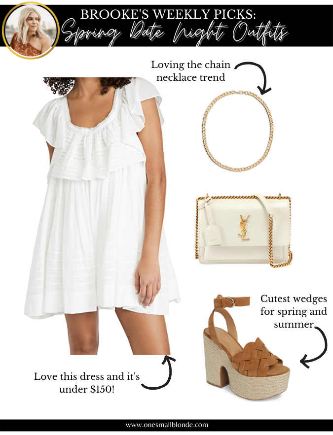 collage of white dress and womens accessories for date night outfits