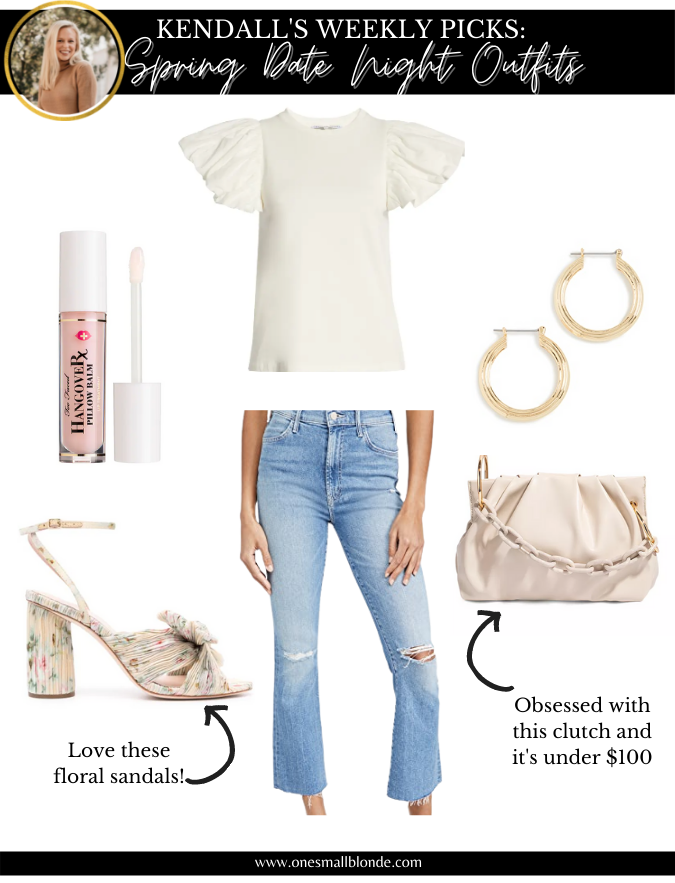 date night outfits recommendations in a collage with top, jeans, and accessories for women