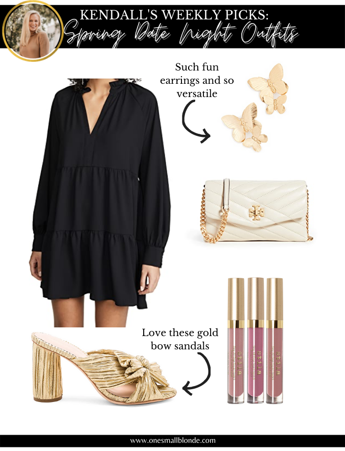 women's black dress and accessories