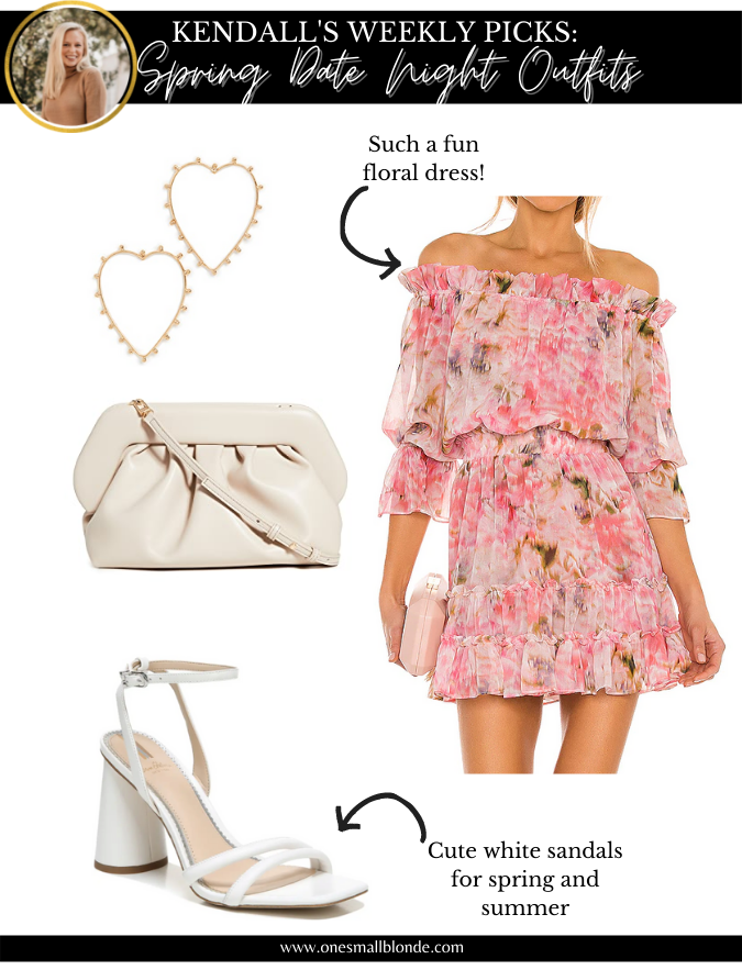 collage of date night outfits recommendation with dress and accessories