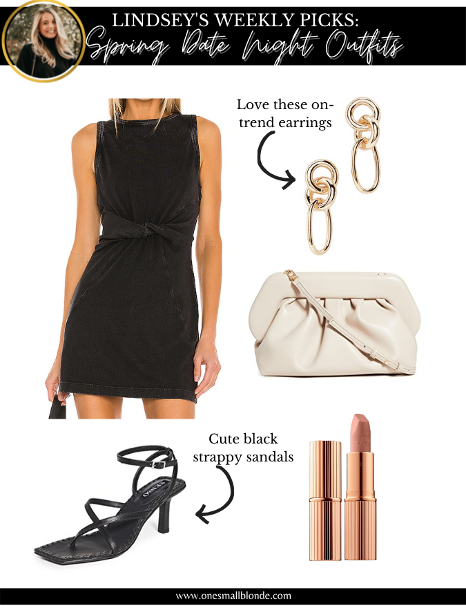 collage of date night outfits recommendation black dress, black heels, and accessories