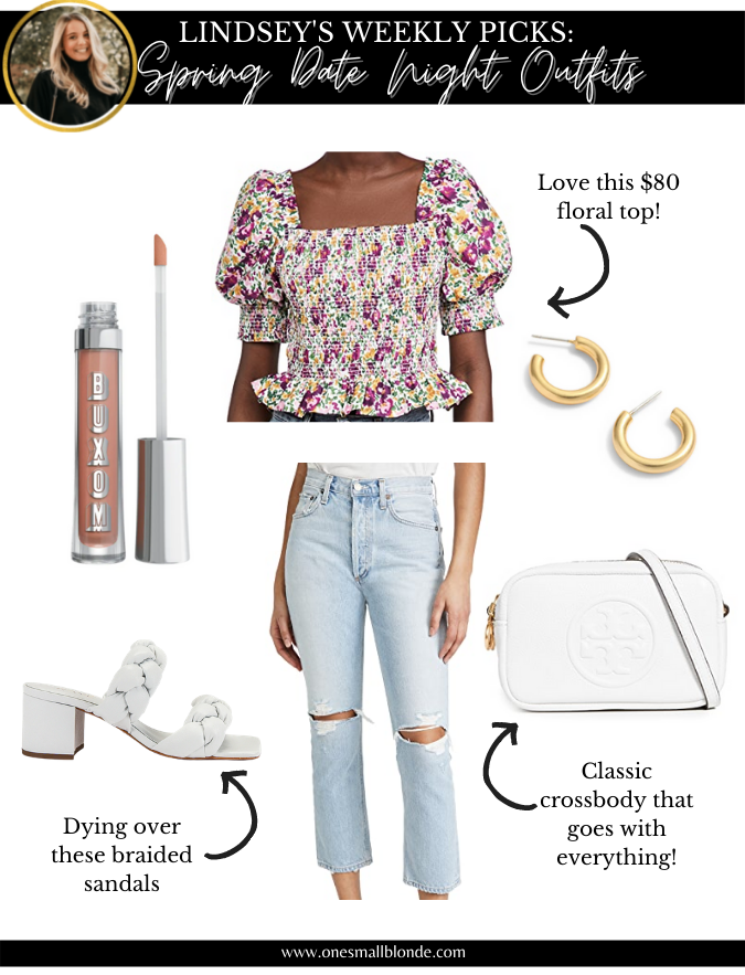 collage of date night outfits recommendation with jeans, top, and accessories