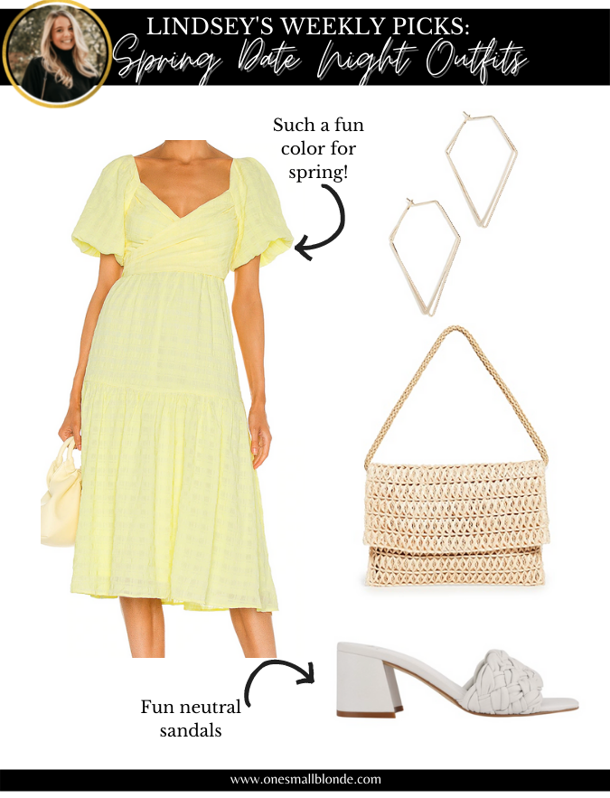 collage of date night outfits recommendation yellow dress and accessories for women